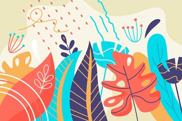 Иллюстрированный тропический фон листья Бесплатные векторы