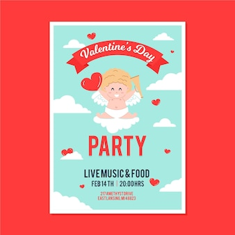Illustrated valentine's day party flyer