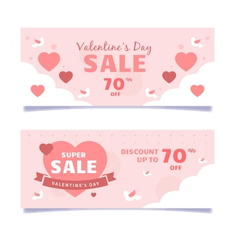 Illustrated valentine's day sales banners