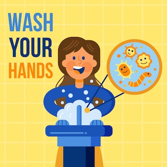 手を洗うメッセージを示す