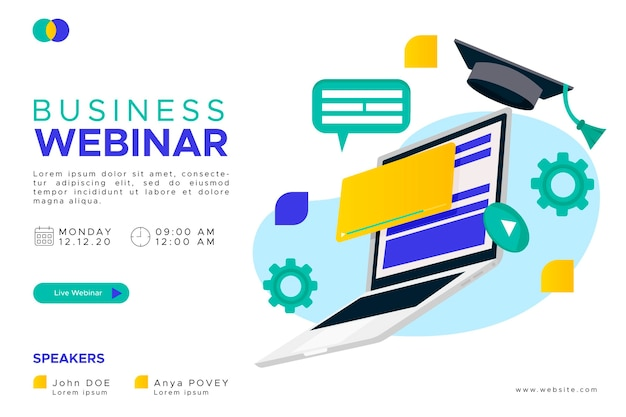 Illustrated webinar banner invitation template