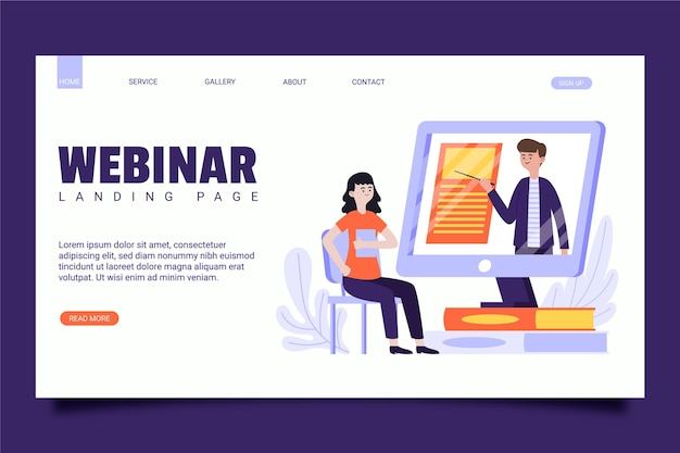 Illustrated webinar landing page template