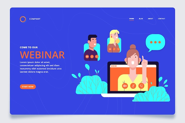 Illustrated webinar landing page template