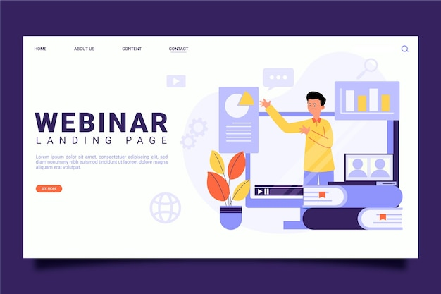 Illustrated webinar landing page