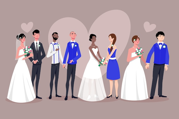 Illustrated wedding couple collection theme