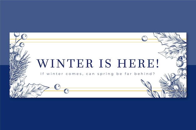 Illustrated winter facebook cover template