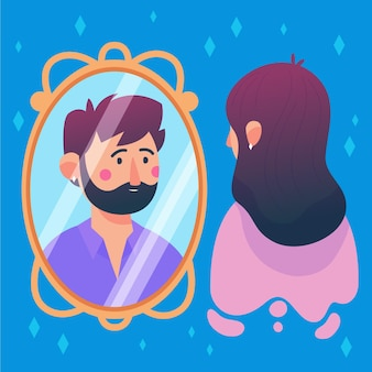 鏡を見て男性を見るイラスト入りの女性