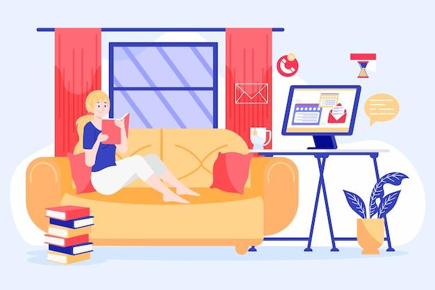 Illustrated woman reading while postponing work