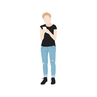 Illustrated woman using mobile phone