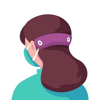 調節可能なフェイスマスクストラップを身に着けているイラスト入りの女性