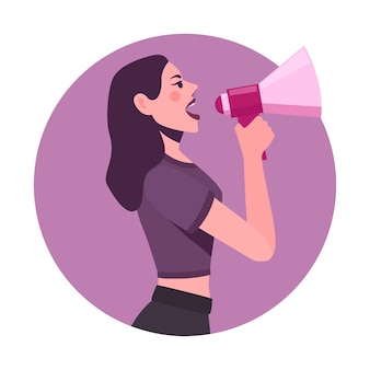 Illustrated woman with megaphone screaming