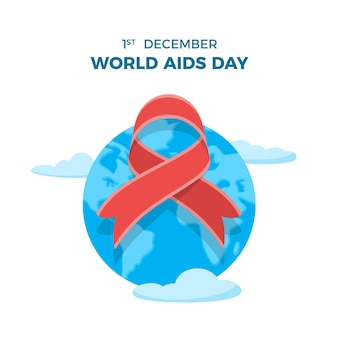 Illustrated world aids day ribbon on earth globe