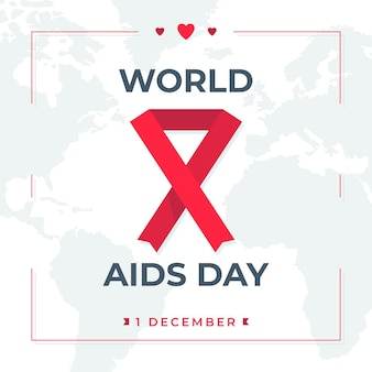 Illustrated world aids day ribbon on world map