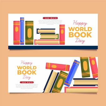 Illustrated world book day banners