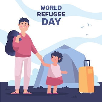Illustrated world refugee day drawing concept