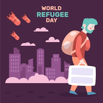 Illustrated world refugee day drawing