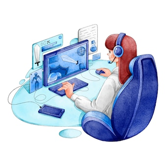Illustrated young girl playing video games