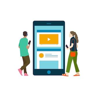 Illustratedp people listening to music online