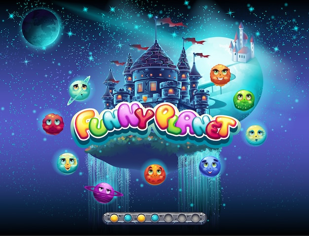 우주와 행성의 쾌활한 주제에 대한 컴퓨터 게임의 로딩 화면의 예를 보여줍니다. 부트 바가 있습니다.