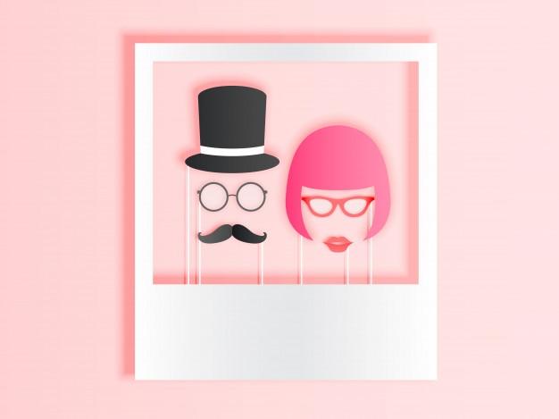 ペイントカラースキームベクトルillustratiとペーパーアートスタイルのカップルのためのフォトブースの項目