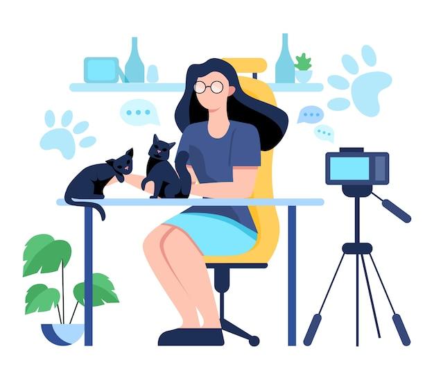 Иллюстрация видеоблогинга. идея творчества и создания контента, современная профессия. персонаж записывает видео с камеры для своего блога.