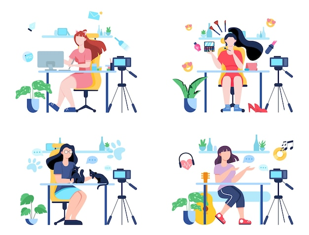 Illustratiion of video blogging concept. idea of creativity and making content, modern profession. characters recording video with cameras for their blog.