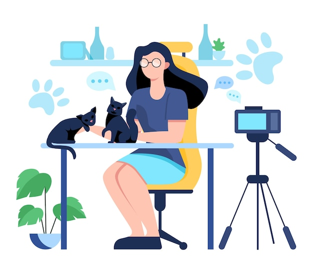 Illustratiion of video blogging . idea of creativity and making content, modern profession. character recording video with camera for their blog.