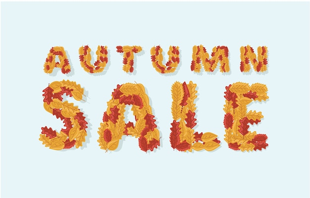 Illustratio of autumn sale tbanner with colorful text of seasonal fall leaves in white background for shopping discount promotion.
