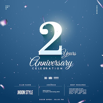 Illustration of a 2nd anniversary party invitation