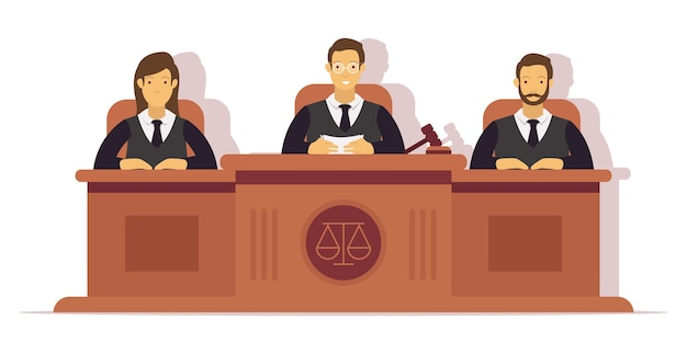 Illustration of 3 judges conducting a trial