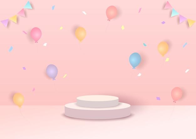 ピンクの背景に風船とイラスト3dスタイルのパーティー。