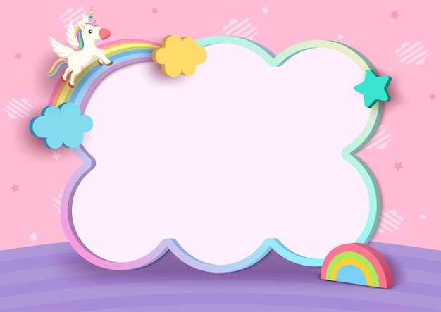 Illustration 3d style of unicorn and rainbow with cute frame on pink cloud pattern background.