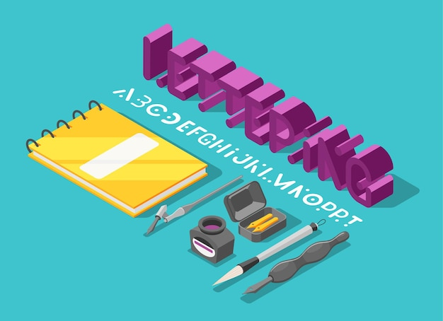 Illustration of 3d text and letters with images of writing instruments and notepad
