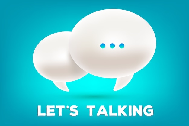 Illustration of 3d white dialog speech bubbles