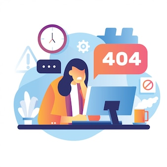 Illustration 404 error page female worker frustrated in front desktop. system error upload schedule gear its good for page not found error 404.