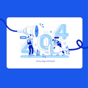 Illustration 404 error page not found system updates, uploading, operation, installation programs. system maintenance. flat  illustration modern character design. for a landing page