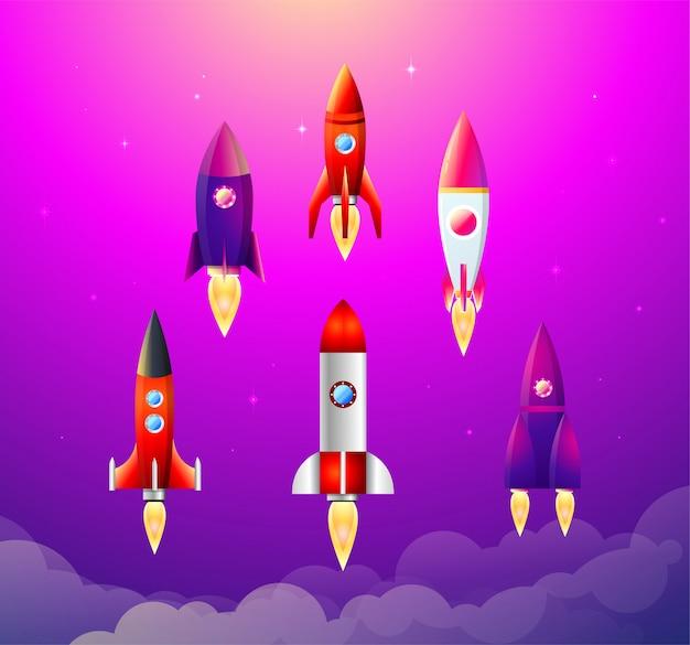 Иллюстрации. 6 плоских иконок с разноцветными ракетными кораблями. процесс запуска и развития проекта