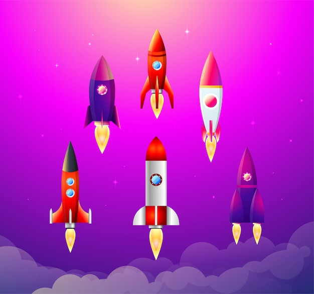 Illustration. 6 flat icons with varicolored rocket ships. project start up and development process