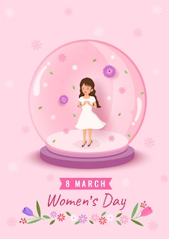 Illustration of 8 march women's day design with woman in the globe ball decorated with flowers