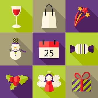 Illustration of 9 christmas flat icons set 5