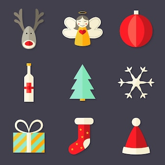 Illustration of 9 christmas icons set 4