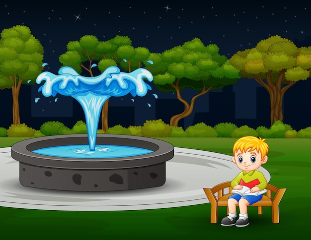 噴水の近くに座って本を読んでいる少年のイラスト