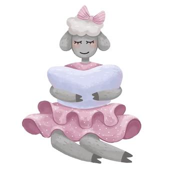 Иллюстрация: ягненок с бантом сидит сонно с подушкой в руках в розовом платье для детей ночью для хорошего сна