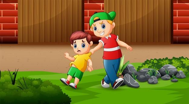 Иллюстрация непослушного ребенка беспокоит ребенка и пугает его