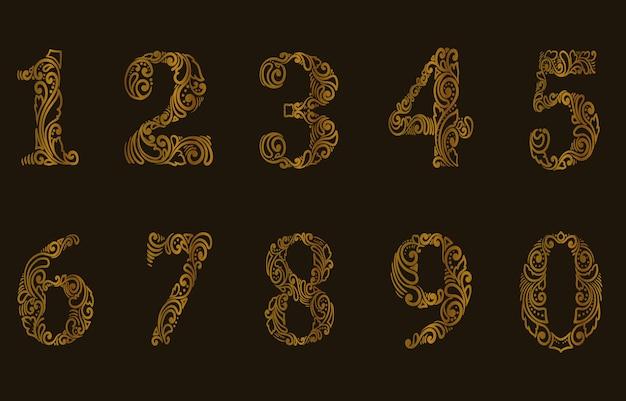 숫자 패턴 스타일의 그림 세트