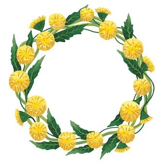 결혼식이나 초대장을 위한 다른 축하를 위한 노란 민들레의 화환