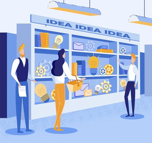 Иллюстрация о покупке хорошей идеи на рынке