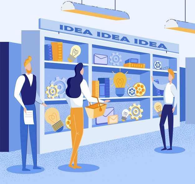 Illustration about buying a good idea at the market