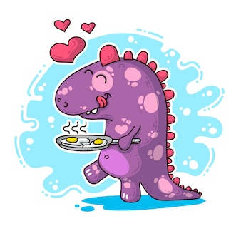 Illustration about dinosaur in love