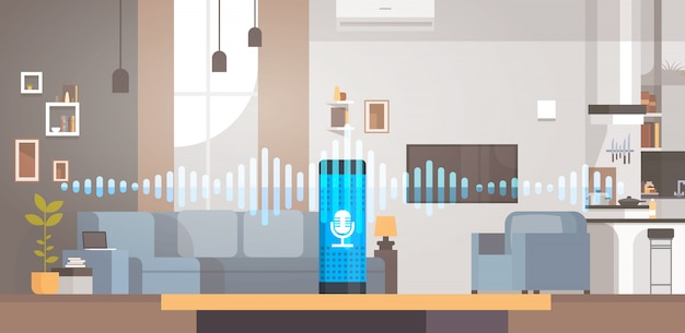 Illustration about home intelligent voice activated assistant recognition technology